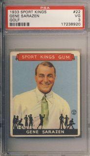 1933 Sport Kings 22 Gene Sarazen PSA 3 VG Golf HOF