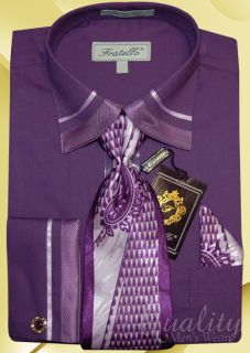 Fratello Purple 16 5 36 37 Trim Dress Shirt Tie Hankie Cuff Links $59