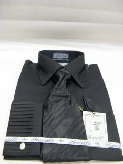New Fratello Fashion Dress Shirt w Tie and Hanky Pleated Black Size 16