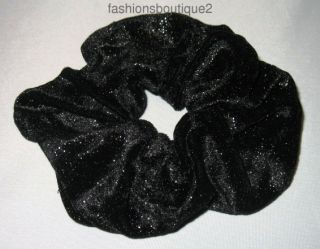 Large Scrunchie Ponytail Hair Holder Black Glitter Velvet Ships Fast