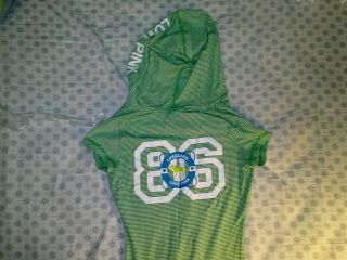 Victorias Secret Pink Collection Green & White Short Sleeve Hoodie