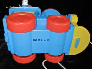 Vintage Disney Mickey Mouse Pull Toy Plastic Train Popping Fisher