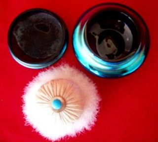 Antique Carder Steuben Electric Blue Aurene Powder Dish