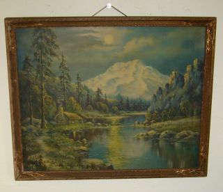 VINTAGE ORIG FREDERICK D OGDEN 1892 1948 WINTER MOONLIGHT WOOD FRAMED