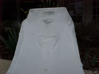 Men's White Wing Collar Tuxedo Shirt Size Large