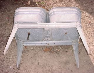 Vtg Double Galvanized Metal Wash Tub and Stand Primitive Rustic Decor
