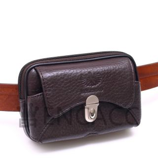 New Mens Genuine Leather Pocket Zipper Waist Packs Pouch Brown Wallet