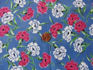 Yard Vintage Cold Rayon Printed Pink Fabric Carnations on French Blue