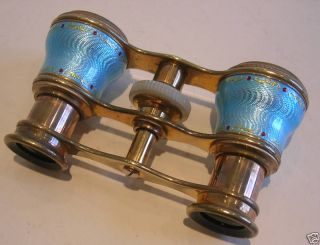 Antique French Blue Guilloche Enamel Opera Glasses