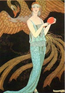 George Barbier 4 Greeting Cards Blue Dress Art Deco
