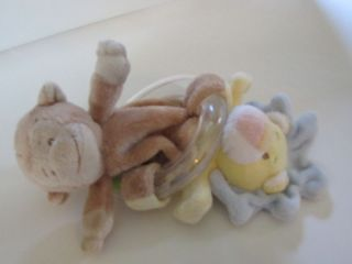 Baby Ganz Plush Lion Monkey Rattle Ring Stuffed Toy