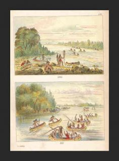 CHIPPEWA Indians Fish Race Canoes George Catlin 1913