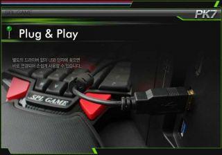 Ergonomic FPS Mmorpg Gaming Keyboard Pad SPL PK7 Black Backlit USB