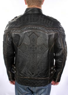 Affliction Mens Black Premium Gear Up Leather Jacket s M L XL
