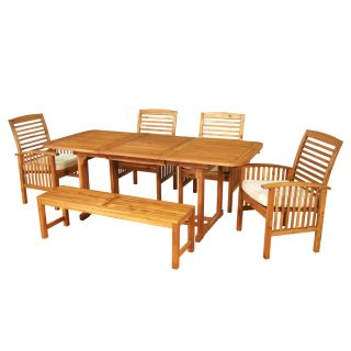 Outdoor Patio Furniture Wood Extendable Table, Bench, and four chair w