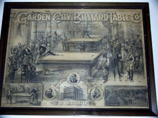 Antique Garden City Billiards Lithograph