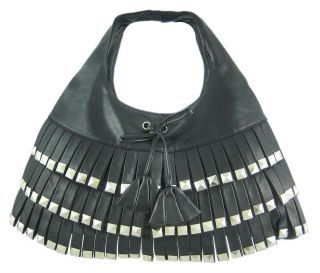 chrome pyramid studded black vinyl fringe handbag