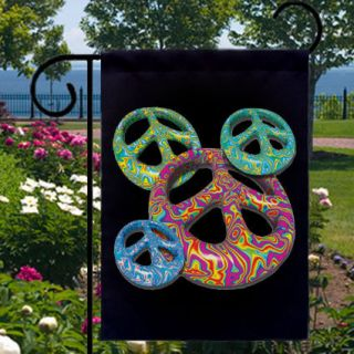 Groovy Peace Signs Hippie Boho NEW Black Small Garden Flag FREE SHIP