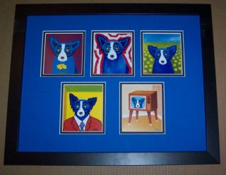 George Rodrigue Blue Dog Note Cards Collage Framed L K