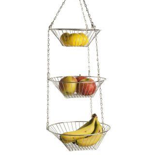 Tier Hanging Fruit Basket Round Wire Metal Basket Fruit Vegetable