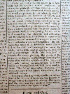 1818 Newspaper w Death of George Rogers Clark Revoluiotnary War