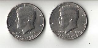 BI CENTENNIAL KENNEDY HALVES 1776 1976 QTY 2 1 D 1 NO MINT MARK VG