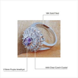 Cocktail Ring Amethyst Red Garnet Peridot Black Onyx Crystal