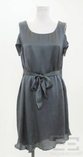 Geren Ford Gray Silk Cut Out Sleeve Tie Waist Dress Size Large