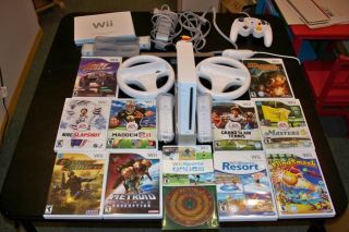 Nintendo Wii White Console NTSC EXTRAS 2 Remotes 12 Games Motion MORE