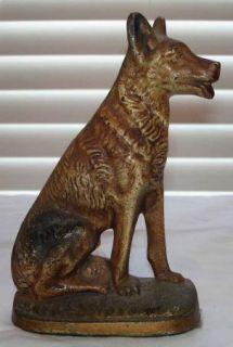 Vintage Cast Iron German Shepherd Dog Door Stop Doorstop Original