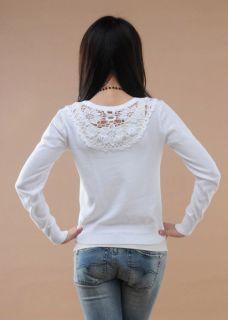 Elegant Women Ladies Floral Basic Long Sleeve Jacket Jumpers Knit Top