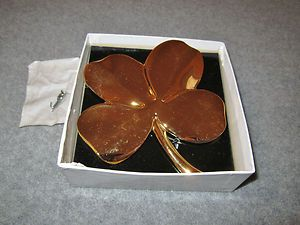 Brass 24K Gold Plated Paperweight Four Leaf Clover Wall Hanging One