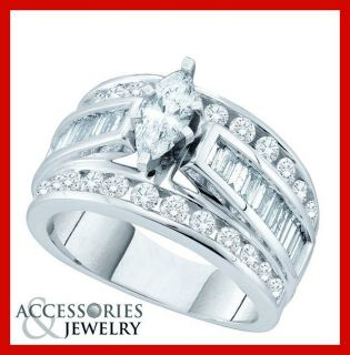 Ladies 14k White Gold Marquise Diamond Engagement Ring