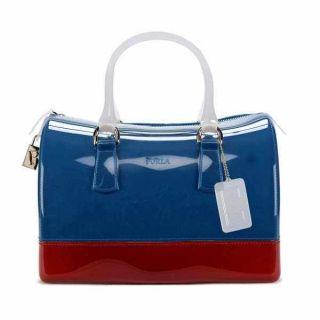 Furla Candy Bag Jelly Satchel Purse Tricolor Red White Blue Geranio