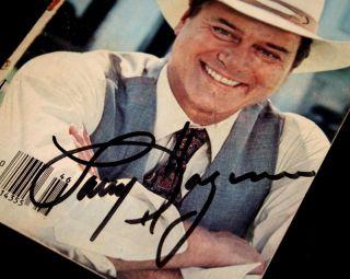 Signed Autograph COA UACC Button J R Ewing Beer Dallas Frame