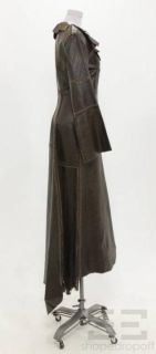 Gary Graham Brown Leather Suede Seamed Raw Edge Button Front Long Coat