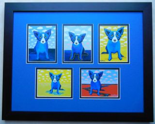 GEORGE RODRIGUE BLUE DOG COMPLETE CLOUDS SERIES FRAMED *L@@K*