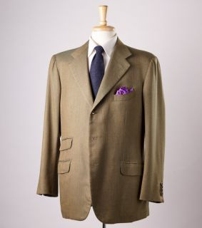 Bespoke $6000 Gianni Campagna Medium Green Cashmere Sport Coat 44 R