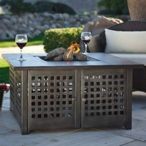 Uniflame Outdoor LP Gas Fire Pit with Slate Top 40K BTU