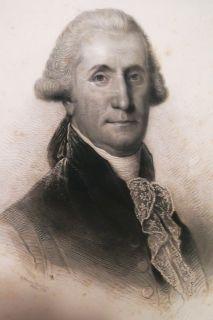 1795 ANTIQUE GEORGE WASHINGTON PORTRAIT ENGRAVING 1855 Patriotic Tea