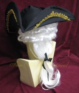 George Washington Colonial Hat with Wig Halloween Costume Accessory