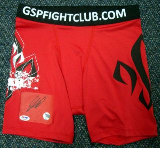 Georges St Pierre Autographed Signed Red Trunks PSA DNA
