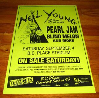 Neil Young Pearl Jam Blind Melon 93 Gig Poster B C