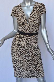 Gerard DAREL Silk V Neck Belted Leopard Print Fitted Dress 38 New