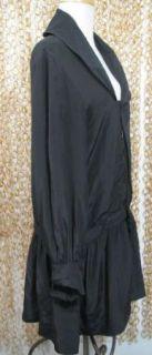 Geren Ford Womens Gorgeous Black Silk Blouson Sleeve Drop Waist Shirt