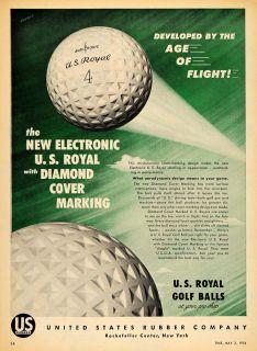 1954 Ad U s Royal Golf Balls Diamond Cover Marking Original
