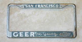 Geer on Geary Chevrolet Dealer San Francisco, CA License Plate Frame