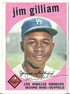 Jim Gilliam Autographed Signed 1959 Topps 306 Brooklyn Dodgers w JSA