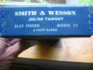 SMITH & WESSON BOX FOR MODEL 35 KIT GUN, 22 CALIBER, 6 BBL.
