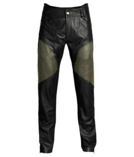 Versace H M UK US 36 EU 52 Mens Black Leather Trousers Gold Studded